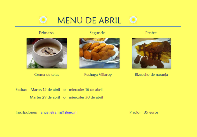 menú de abril