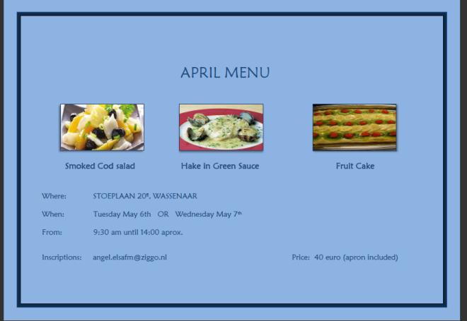 clases en abril 2014 de cocina en inglés